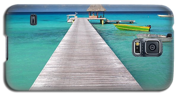 Boats At The Jetty In A Tropical Turquoise Lagoon Galaxy S5 Case