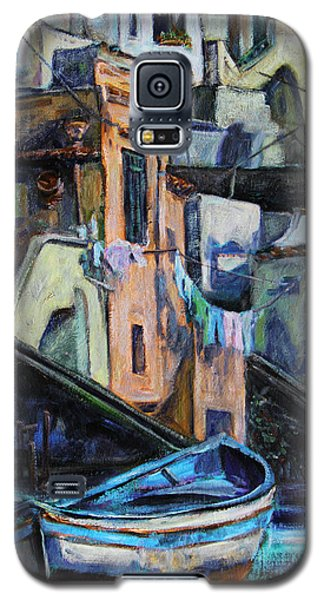 Galaxy S5 Case featuring the painting Boats In Front Of The Buildings I  by Xueling Zou