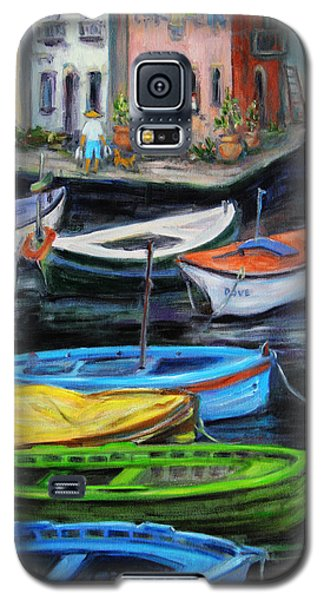 Galaxy S5 Case featuring the painting Boats In Front Of The Buildings II by Xueling Zou