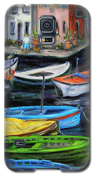 Boats In Front Of The Buildings II Galaxy S5 Case by Xueling Zou