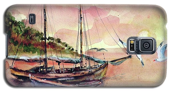 Galaxy S5 Case featuring the painting Boats In Sunset  by Faruk Koksal