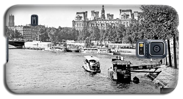 Galaxy S5 Case featuring the photograph Boats In The Seine River Paris 1903 Vintage Photograph by A Gurmankin