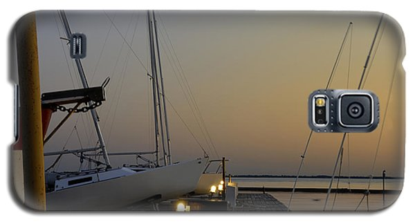 Boats Moored To Pier At Sunset Galaxy S5 Case
