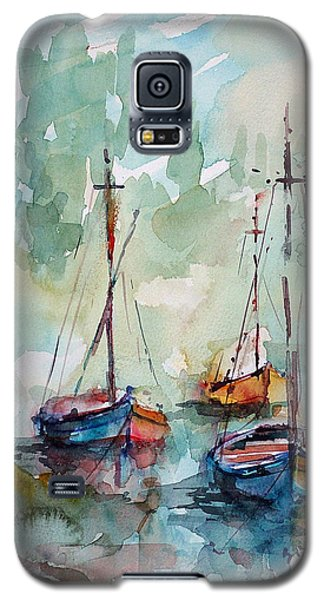 Galaxy S5 Case featuring the painting Boats On Lake  by Faruk Koksal