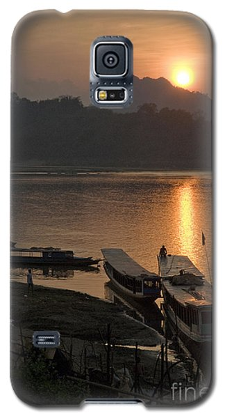 Boats On River By Luang Prabang Laos  Galaxy S5 Case