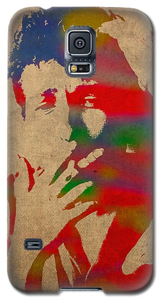 Bob Dylan Watercolor Portrait On Worn Distressed Canvas Galaxy S5 Case by Design Turnpike