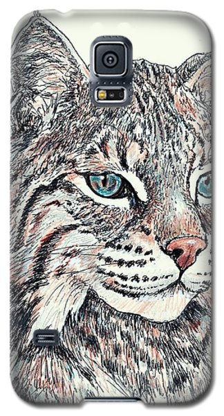 Galaxy S5 Case featuring the drawing Bobcat Portrait by VLee Watson
