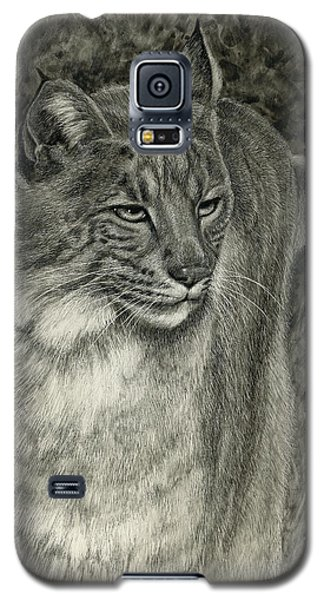 Galaxy S5 Case featuring the drawing Bobcat Emerging by Sandra LaFaut