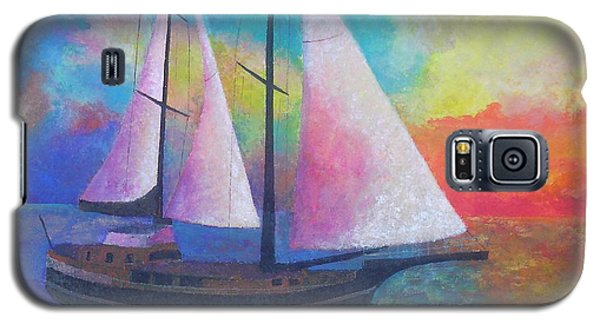Galaxy S5 Case featuring the painting Bodrum Gulet Cruise by Tracey Harrington-Simpson