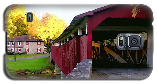 Galaxy S5 Case featuring the photograph Bogerts Covered Bridge Allentown Pa by Jacqueline M Lewis