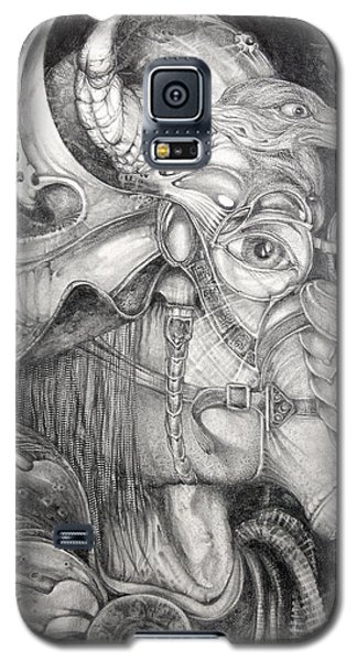 Galaxy S5 Case featuring the drawing Bogomils Duckhunting Mask by Otto Rapp