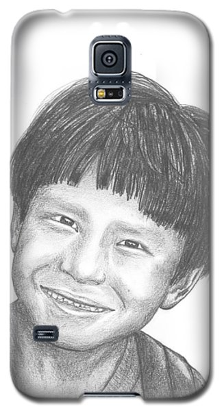 Galaxy S5 Case featuring the drawing Bolivian Jungle Child by Lew Davis