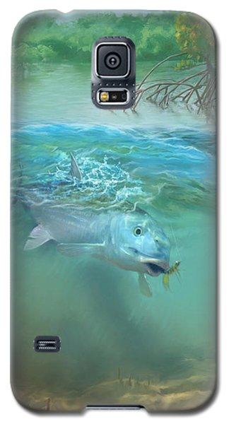 Galaxy S5 Case featuring the painting Bone Fish by Rob Corsetti