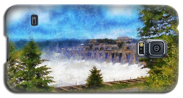 Galaxy S5 Case featuring the digital art Bonneville Dam Floodgates Open by Kaylee Mason