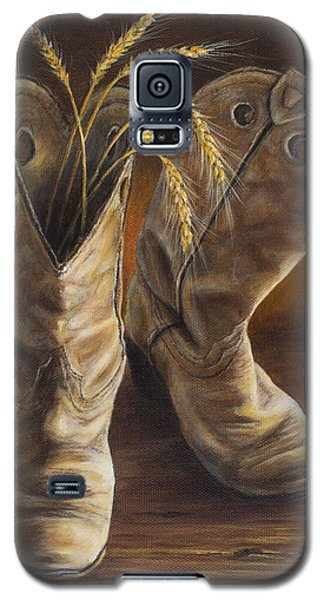 Galaxy S5 Case featuring the painting Boots And Wheat by Kim Lockman