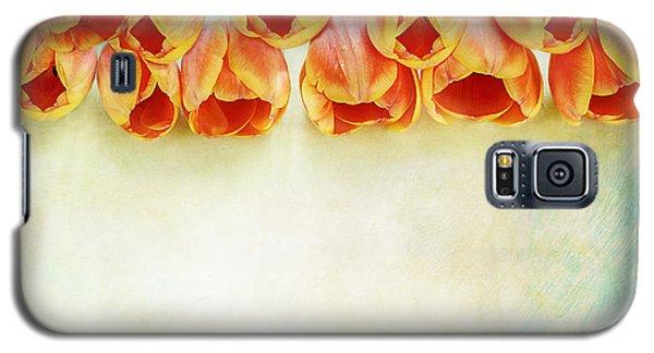 Border Of Orange Tulips Galaxy S5 Case by Stephanie Frey