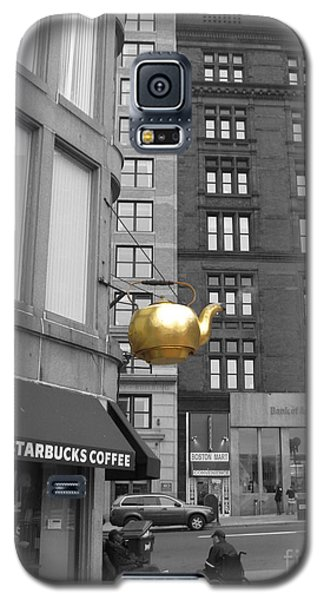 Galaxy S5 Case featuring the photograph Boston Golden Teapot by Cheryl Del Toro