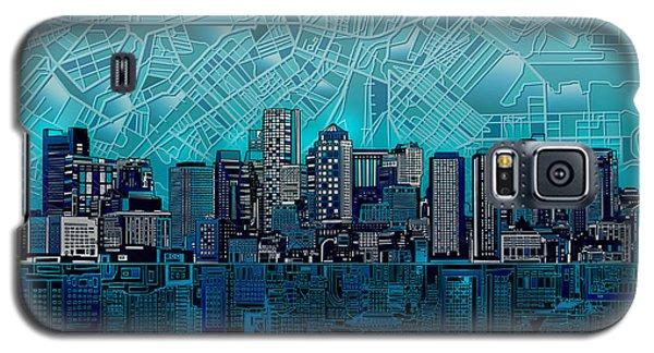 Boston Skyline Abstract Blue Galaxy S5 Case