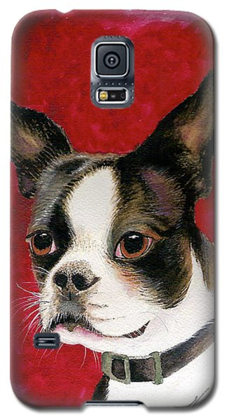 Galaxy S5 Case featuring the painting Boston Terrier Dog by Nan Wright