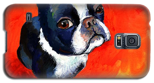 Boston Terrier Dog Painting Prints Galaxy S5 Case