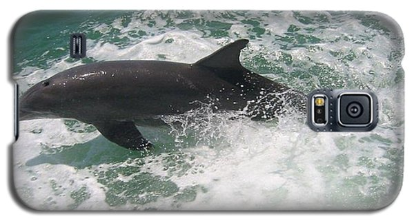 Galaxy S5 Case featuring the photograph Bottlenose Dolphin Catching A Wave by Jean Marie Maggi