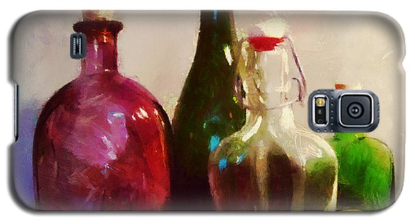 Galaxy S5 Case featuring the painting Bottles And Fruits by Wayne Pascall