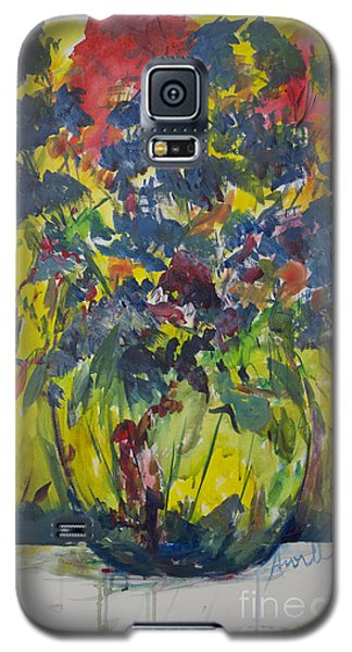 Galaxy S5 Case featuring the painting Bouquet With Blue Flowers by Avonelle Kelsey