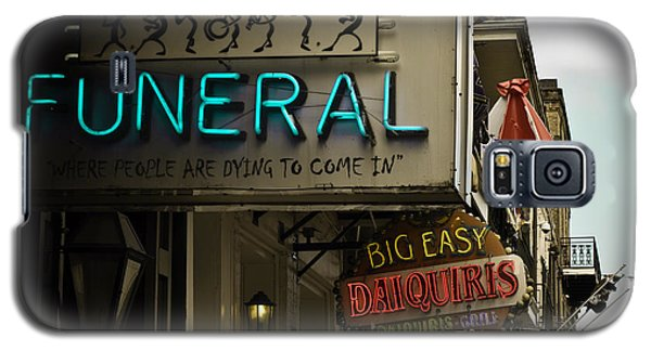 Galaxy S5 Case featuring the photograph Bourbon Street Bar Signs In New Orleans by Ray Devlin