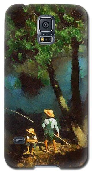 Galaxy S5 Case featuring the digital art Boys Fishing In A Bayou by Kai Saarto