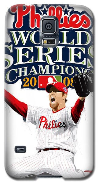 Galaxy S5 Case featuring the digital art Brad Lidge Ws Champs Logo by Scott Weigner