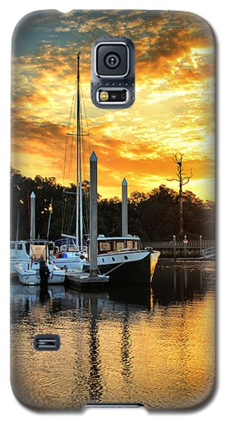 Galaxy S5 Case featuring the photograph Bradley Creek Marina Sunrise #2 by Phil Mancuso