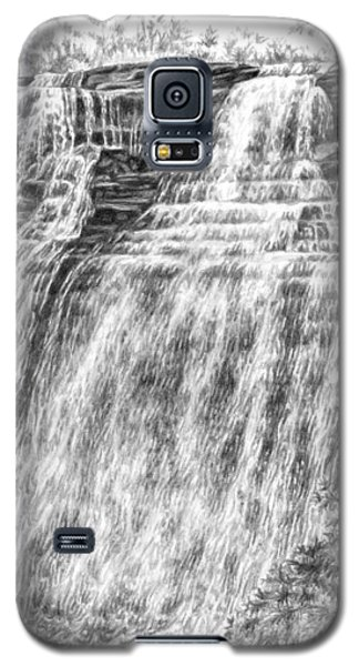 Galaxy S5 Case featuring the drawing Brandywine Falls - Cuyahoga Valley National Park by Kelli Swan