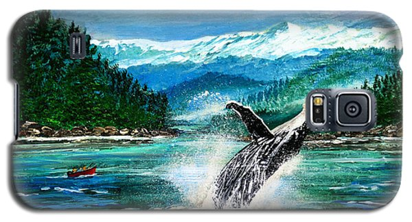 Galaxy S5 Case featuring the painting Breaching Humpback Whale by Patricia L Davidson