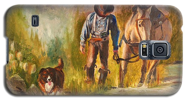 Galaxy S5 Case featuring the painting Break For The Ride by Karen Kennedy Chatham