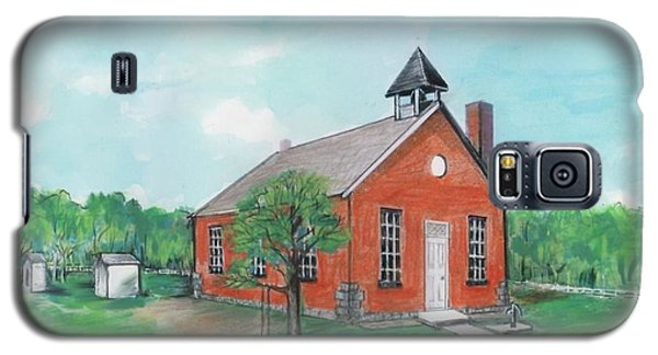 Galaxy S5 Case featuring the painting Bricktown School by Mary Armstrong