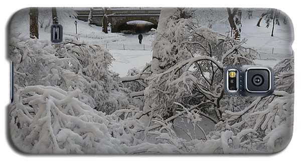 Galaxy S5 Case featuring the photograph Bridge And Snow Covered Trees by Winifred Butler