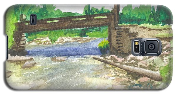 Galaxy S5 Case featuring the painting Bridge On The Red Cloud Loop by Sherril Porter