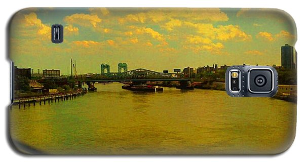 Galaxy S5 Case featuring the photograph Bridge With Puffy Clouds by Miriam Danar