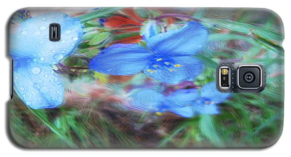 Galaxy S5 Case featuring the photograph Brilliant Blue Flowers by Cathy Anderson