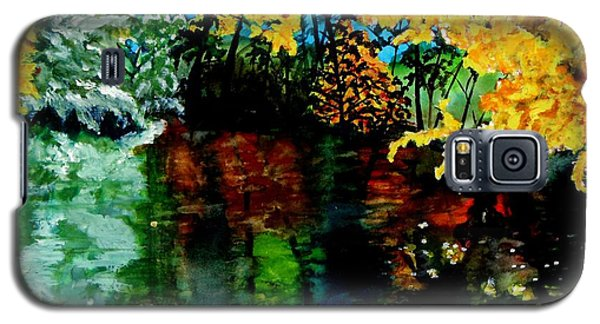 Galaxy S5 Case featuring the painting Brilliant Mountain Colors In Reflection by Lil Taylor