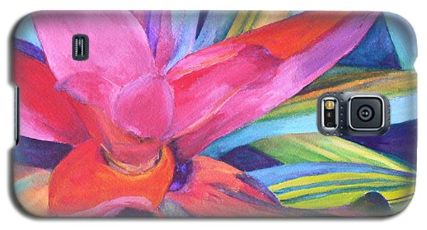 Galaxy S5 Case featuring the painting Bromeliad Pink by Margaret Saheed