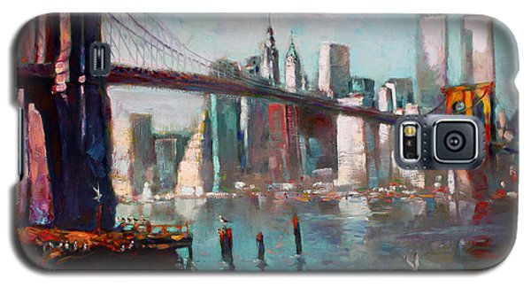 Seagull Galaxy S5 Case - Brooklyn Bridge And Twin Towers by Ylli Haruni
