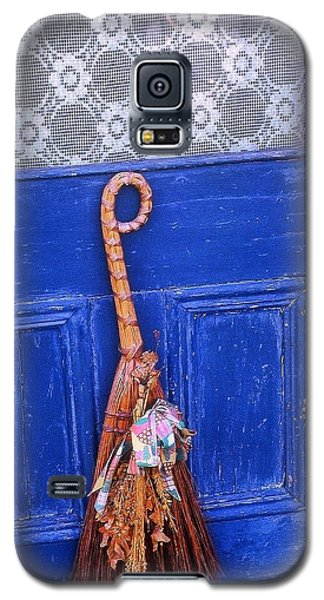 Galaxy S5 Case featuring the photograph Broom On Blue Door by Rodney Lee Williams