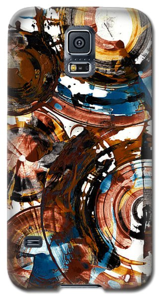 Galaxy S5 Case featuring the painting Brown And Blue Spherical Joy - 992.042212 by Kris Haas