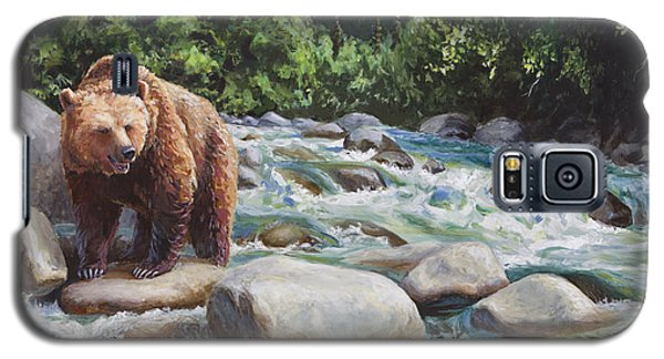 Brown Bear And Salmon On The River - Alaskan Wildlife Landscape Galaxy S5 Case