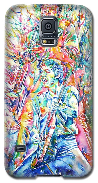 Bruce Springsteen And Clarence Clemons Watercolor Portrait Galaxy S5 Case by Fabrizio Cassetta
