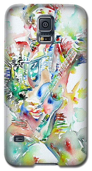 Bruce Springsteen Playing The Guitar Watercolor Portrait Galaxy S5 Case by Fabrizio Cassetta