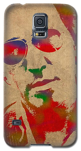 Bruce Springsteen Watercolor Portrait On Worn Distressed Canvas Galaxy S5 Case