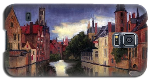 Galaxy S5 Case featuring the painting Bruges Belgium Canal by Janet King