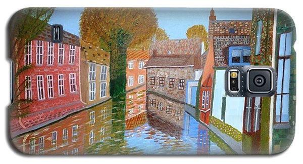 Galaxy S5 Case featuring the painting Brugge Canal by Magdalena Frohnsdorff